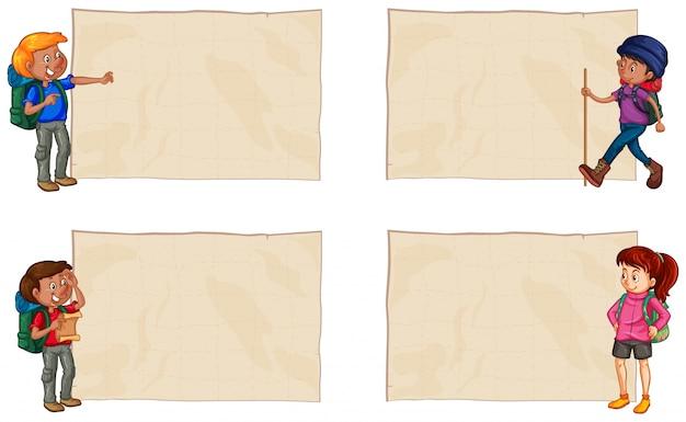 Quatre papiers avec des randonneurs heureux
