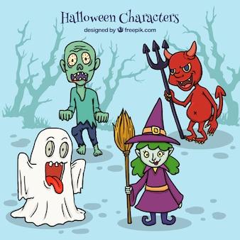 Quatre personnages de halloween rampants