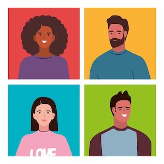 Quatre personnages de jeunes