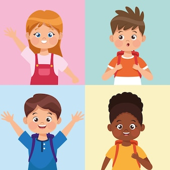 Quatre personnages de petits étudiants