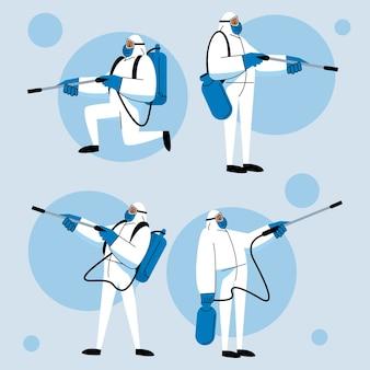 Quatre personnages de travailleurs de la biosécurité désinfectent
