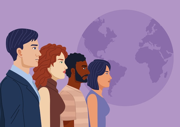 Quatre personnes de la diversité