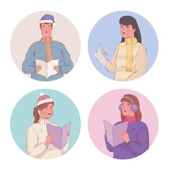 Quatre personnes portant des vêtements d'hiver chantant des chants de noël
