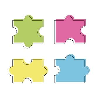 Quatre pièces de couleur puzzle vector illustration, isolé sur fond blanc - style de ligne