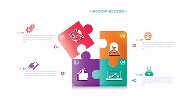 Quatre pièces de puzzle carrés info graphique stock illustration numéro 4 infographie