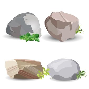 Quatre pierres de rocher avec de l'herbe verte et des feuilles isolées sur blanc. affiche colorée de vecteur de gros exemples de minéraux de la terre.
