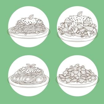 Quatre plats de pâtes italiennes
