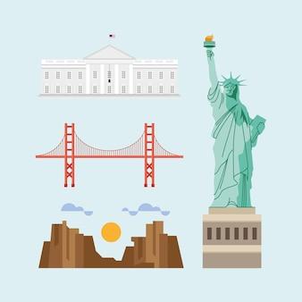 Quatre points de repère des monuments des états-unis