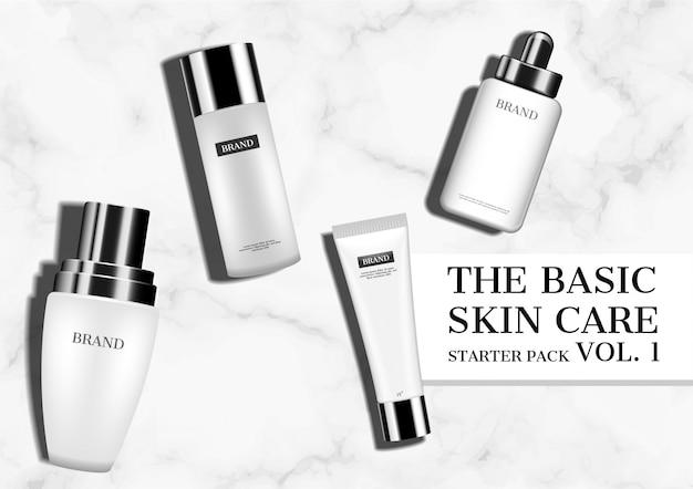 Quatre produits cosmétiques maquillés sur un sol en marbre