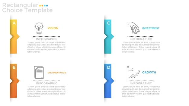 Quatre rectangles ou cartes en papier blanc séparés avec des flèches ou des pointeurs colorés, des icônes de ligne fine et un emplacement pour le texte ou la description à l'intérieur. modèle de conception infographique propre. illustration vectorielle.