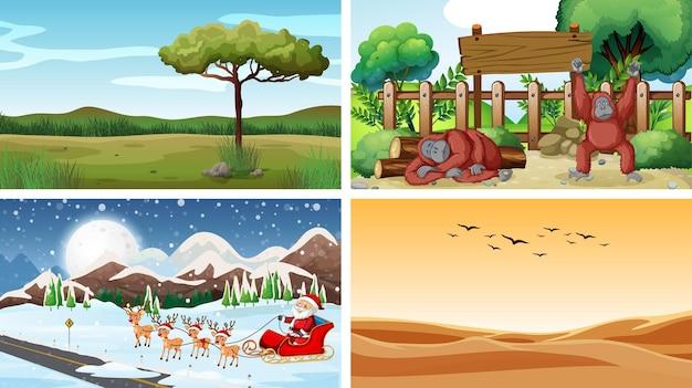 Quatre scènes avec des animaux et la nature