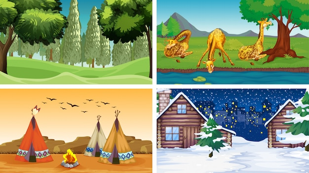 Quatre scènes avec des animaux et des parcs