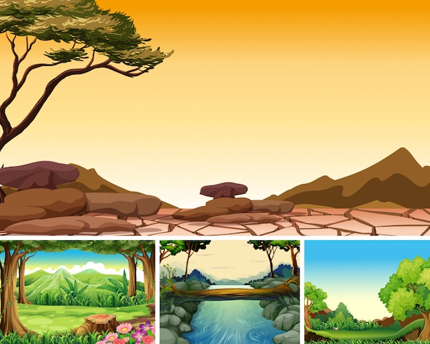 Quatre scènes de catastrophes naturelles différentes de style cartoon forestier