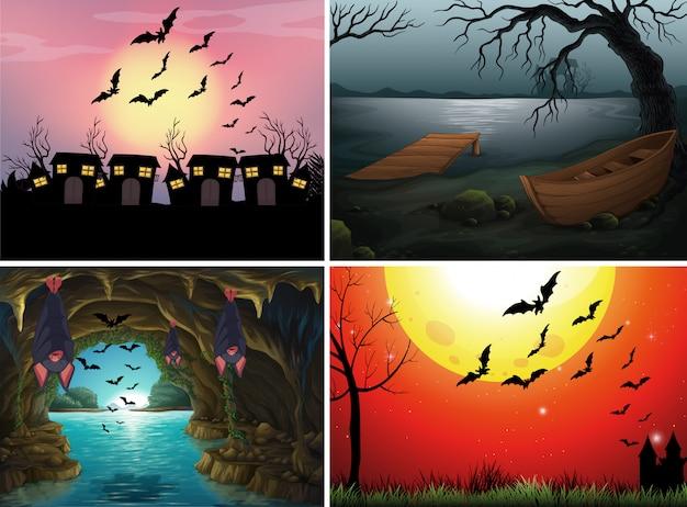Quatre scènes avec des chauves-souris la nuit