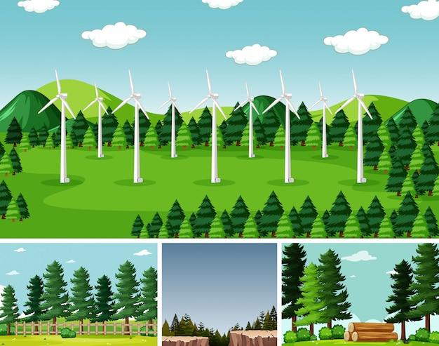 Quatre scènes différentes dans la nature définissant un style de dessin animé