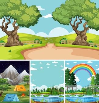 Quatre scènes différentes dans le style de dessin animé de la nature