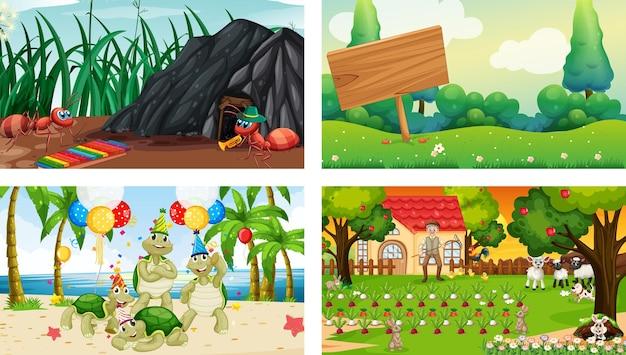 Quatre Scènes Différentes Avec Divers Personnages De Dessins Animés D'animaux Vecteur gratuit