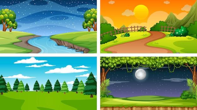 Quatre Scènes Différentes De Parc Naturel Et De Forêt Vecteur gratuit