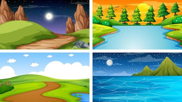 Quatre scènes différentes de parc naturel et de forêt