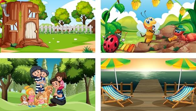Quatre scènes différentes avec un personnage de dessin animé pour enfants