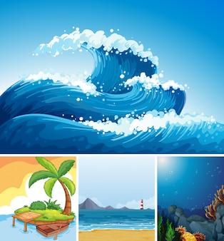 Quatre scènes différentes de plage tropicale et sous-marine avec style de dessin animé de creater de mer