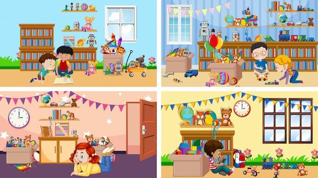 Quatre scènes avec des enfants jouant dans différentes pièces