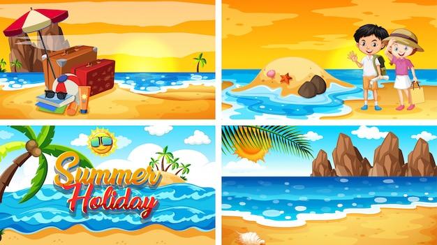 Quatre scènes avec l'été sur la plage