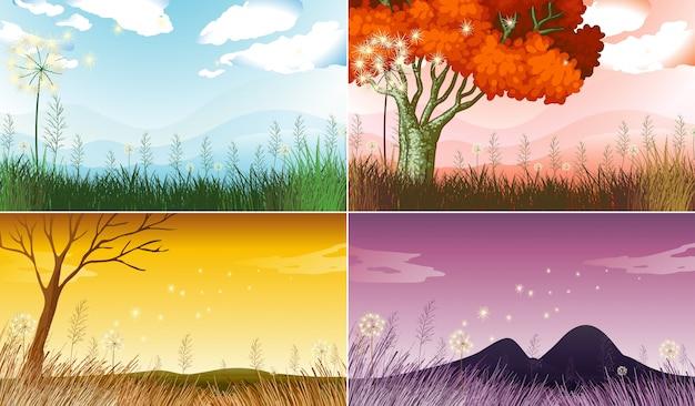 Quatre scènes de fond avec différentes saisons