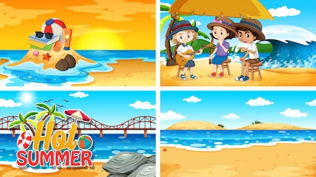 Quatre scènes de fond avec l'été sur la plage