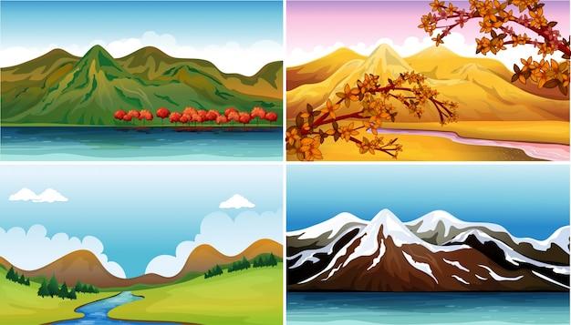 Quatre scènes de fond avec des montagnes