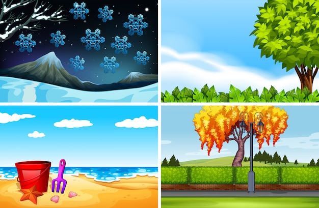 Quatre scènes de fond de saisons différentes