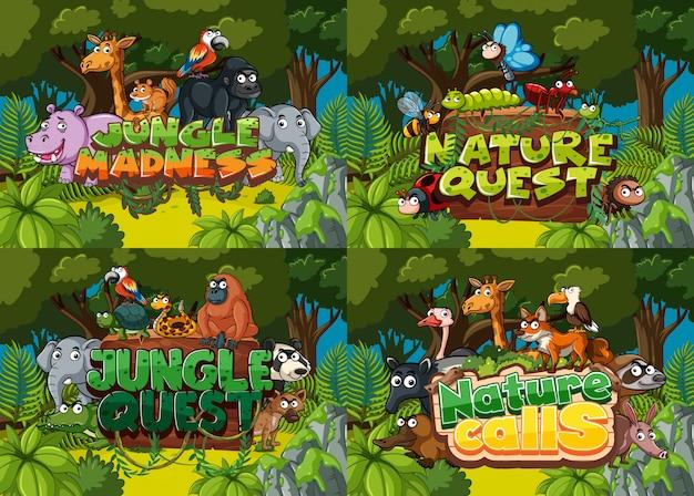 Quatre avec des scènes forestières et des mots liés à la nature