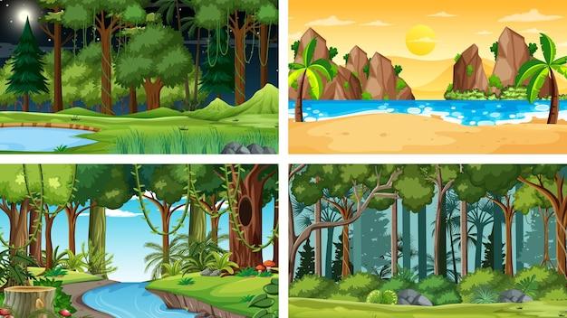 Quatre scènes horizontales de nature différente