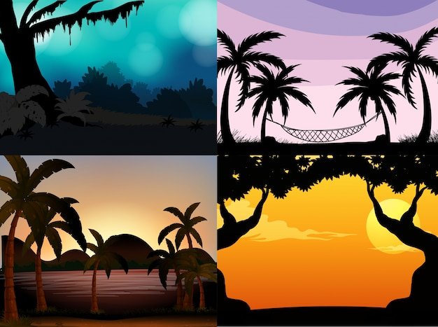 Quatre scènes de la nature avec des arbres de la silhouette