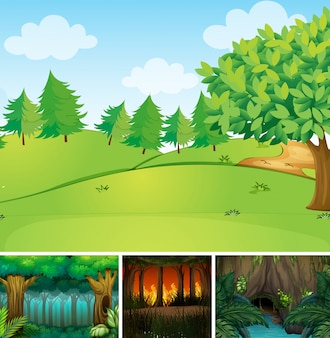 Quatre scènes de la nature différente du style de dessin animé de forêt et de marais