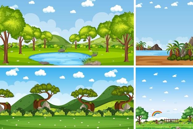 Quatre scènes de nature différentes de fond avec un ciel blanc