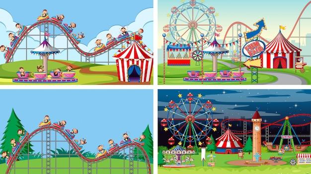 Quatre scènes avec de nombreux manèges dans la fête foraine