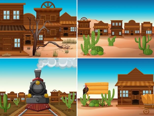 Quatre scènes occidentales avec des bâtiments et des trains