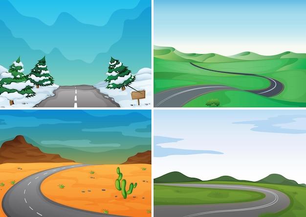 Quatre scènes avec des routes vides