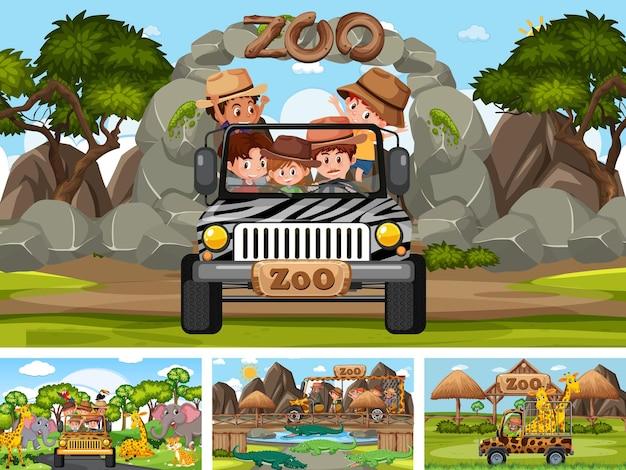 Quatre scènes de zoo différentes avec des enfants et des animaux