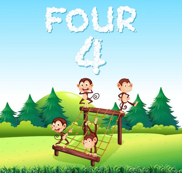 Quatre singes sur le terrain de jeu