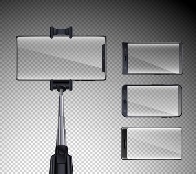 Quatre smartphones à écran tactile brillant avant avec écran selfie stick réaliste fond transparent illustration isolé
