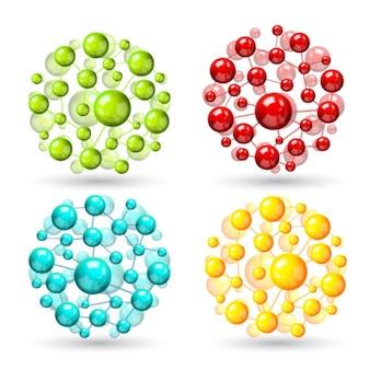 Quatre sphères atomiques