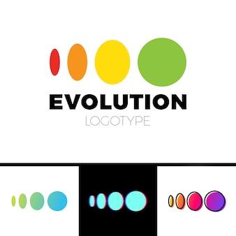Quatre symboles d'elipse pour encercler l'évolution du logo