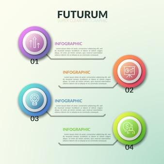 Quatre symboles de ligne mince à l'intérieur d'éléments ronds colorés placés les uns au-dessus des autres et connectés avec des zones de texte. niveaux de concept de développement commercial.