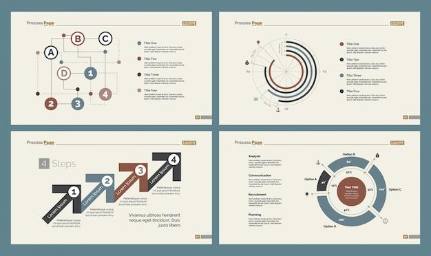 Quatre tableaux d'analyse ensembles de modèles de diapositives