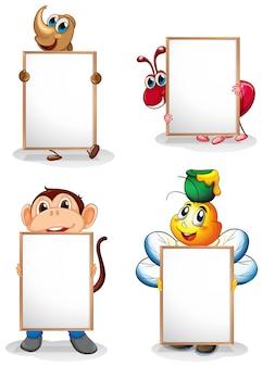 Quatre tableaux blancs devant les quatre animaux