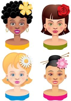 Quatre têtes de filles ethniques différentes