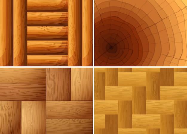 Quatre texture de fond de bois