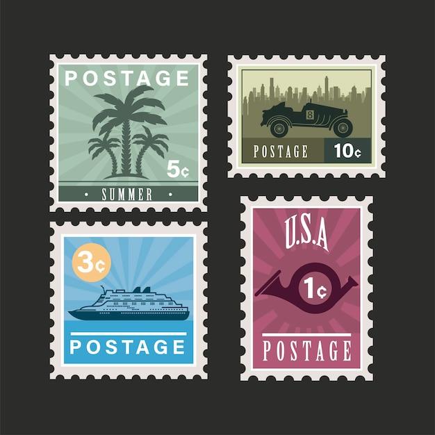 Quatre timbres-poste